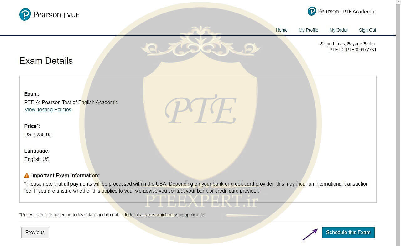 ثبت نام آزمون PTE